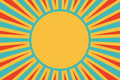 Sun red yellow blue background pop art retro Stock Photos