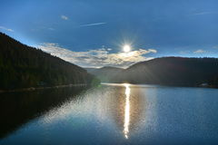 Sun reflected in the lake. Royalty Free Stock Photography