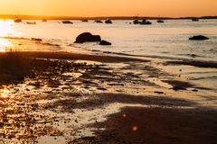 Sun reflected on to beach at sunset. The sun shines brightly on the rocks and wet sand of this Cape Cod beach in the last days of summer Stock Images