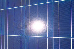 Sun Reflecting in Horizontal Solar Panel Stock Images