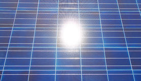 Sun Reflecting in PV panel Royalty Free Stock Image