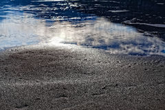 Sun Reflecting in Water and Sand Royalty Free Stock Photography