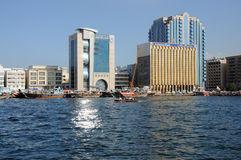 Sun Reflection in Dubai Creek Royalty Free Stock Photography