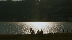Sun reflection on the lake stock video footage