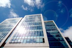 Sun reflection skyscrapers Stock Images
