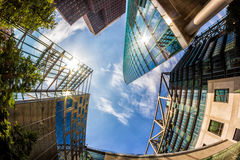 Sun Reflections on Modern Buildings in Berlin, Germany. Summer Stock Photos