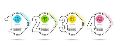 Sun, regalo segreto ed icone del contenitore di regalo Il calendario sconta il segno Estate, pacchetto sconosciuto, pacchetto att royalty illustrazione gratis