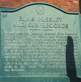 Sun registra el estudio abierto por el pionero Sam Phillips del rock-and-roll en Memphis Tennessee los E.E.U.U. Imagen de archivo libre de regalías