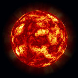Sun. A rendition of a fiery sun with molten surface solar storms and winds and a dark starry sky background  and fiery red glow Stock Image