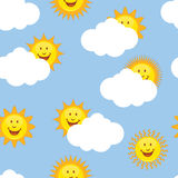 Sun Repeating. Image of smiling suns in a repeating wallpaper pattern Stock Photo