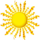 Sun Ribbon. 3D image of a sun with yellow ribbon rays Royalty Free Stock Photography
