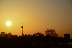 Sun rise and the CN Tower in Toronto Royalty Free Stock Photo