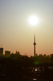 Sun rise and the CN Tower in Toronto stock images
