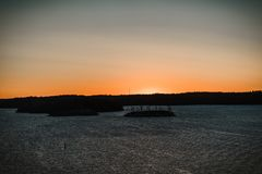 Sun rise at a cruise trip. Stockholm Sweden royalty free stock photography
