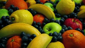 Sun Rise On Delicious Fruit Pile. Light illuminates large pile of fruits stock video