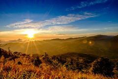 Sun Rise Flare and Mountain. Blue Sky Red Sky Sun Rise and Sun Flare Stock Images
