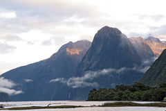 Sun rise high mountain glacier at milford sound Royalty Free Stock Photo