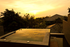 Sun rise with jacuzzi outdoor Royalty Free Stock Photo