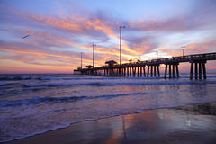 Sun rise and long pier Royalty Free Stock Images