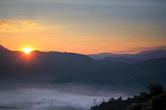 Sun rise on mountains Royalty Free Stock Photography