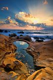 sunrise Taiwan north coast stock photography