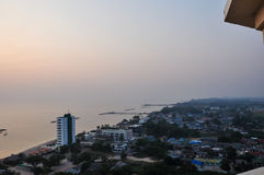 Sun rise Over the Beach Cha-Am. Sun rise Over the Beach Cha-Am in Thailand on the building of luxury. Then came the wake refreshed. The first light of a new day Stock Images
