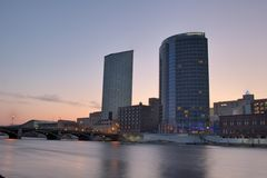 Sun rise over Grand Rapids Michigan Stock Photos