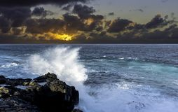 Sun rise over the ocean before storm / Lanzarote. / Canary Islands Royalty Free Stock Images