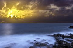 Sun rise over the ocean before storm / Lanzarote. / Canary Islands Royalty Free Stock Image