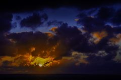 Sun rise over the ocean before storm. / Lanzarote / Canary Islands Royalty Free Stock Photos