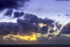 Sunrise over the ocean before storm. Sun rise over the ocean before storm / Lanzarote / Canary Islands Stock Images