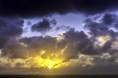 Sunrise over the ocean before storm. Sun rise over the ocean before storm / Lanzarote / Canary Islands Royalty Free Stock Images