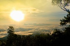 Sun rise. Time in the north part of thailand stock images