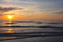 Sun Rise. On the Thai beach, Chantaburi province, Thailand stock images
