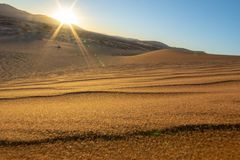 Sun rises above Sossusvlei dunes casting lens flare over landsca. Pe of sand and wind blown ripple patterns royalty free stock photos
