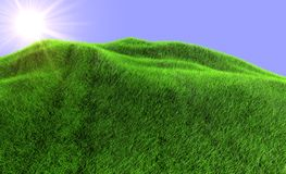 The sun rises because of mountain. The covered green grass Stock Images
