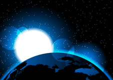 Sun rises from outer space some Elements of this image furnished by NASA stock illustration