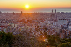 The sun rises over Barcelona Royalty Free Stock Image