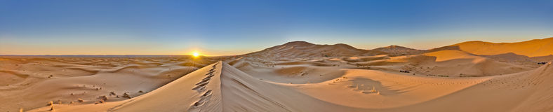 Sun rises over Erg Chebbi at Morocco royalty free stock images