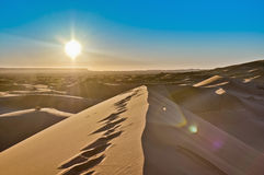 Sun rises over Erg Chebbi at Morocco Stock Image