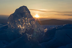 Sun rises over the ice floes. Royalty Free Stock Images