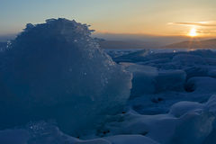 Sun rises over the ice floes. Royalty Free Stock Photos