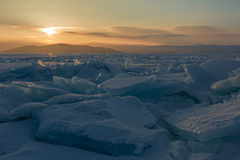 Sun rises over the ice floes. Stock Photos