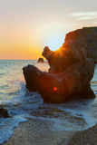 Sun rises over the Sea of Azov on Generals beach. Karalar regional landscape park in Crimea. Royalty Free Stock Images