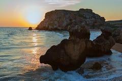 Sun rises over the Sea of Azov on Generals beach. Karalar regional landscape park in Crimea. Stock Images