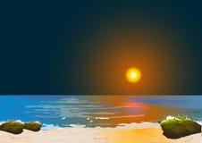 Sun rises in Sea Royalty Free Stock Photos