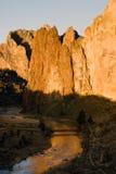 Sun Rises on Smith Rock Oregon Crooked River Reflection Stock Photos