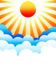 Sun rising above clouds. Bright sun rising above stylized blue clouds Stock Illustration
