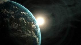 Sun rising behind the Earth seen from space, 3d animation stock footage