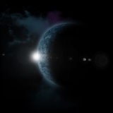 Sun rising behind fictional planet. 3D space background with sun rising behind fictional planet Stock Photo